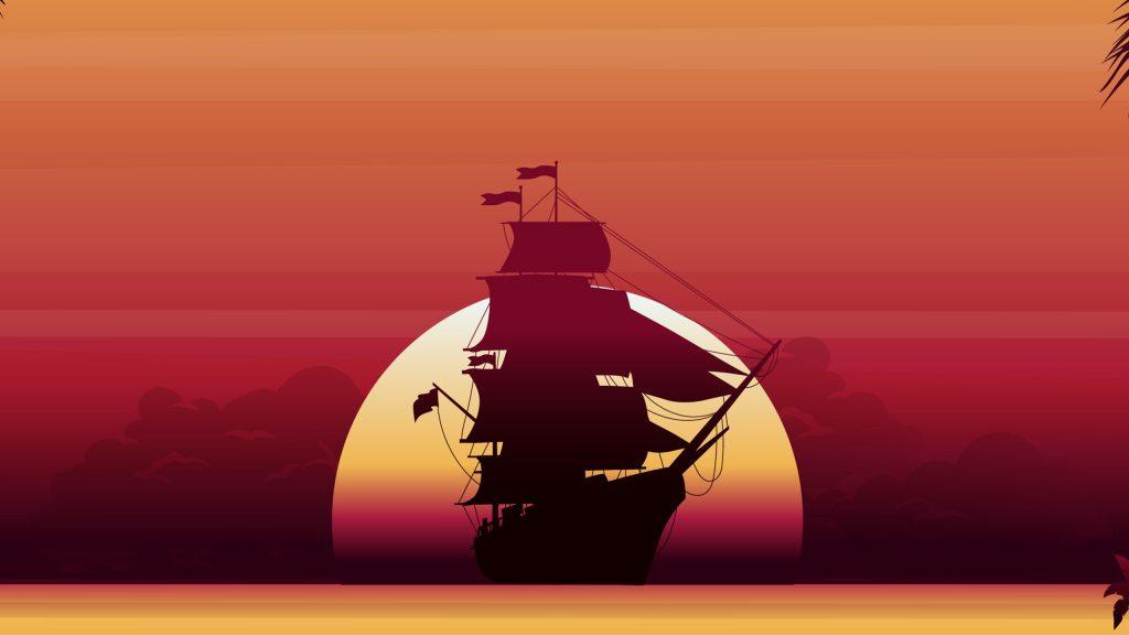 pirate-ship-sunset