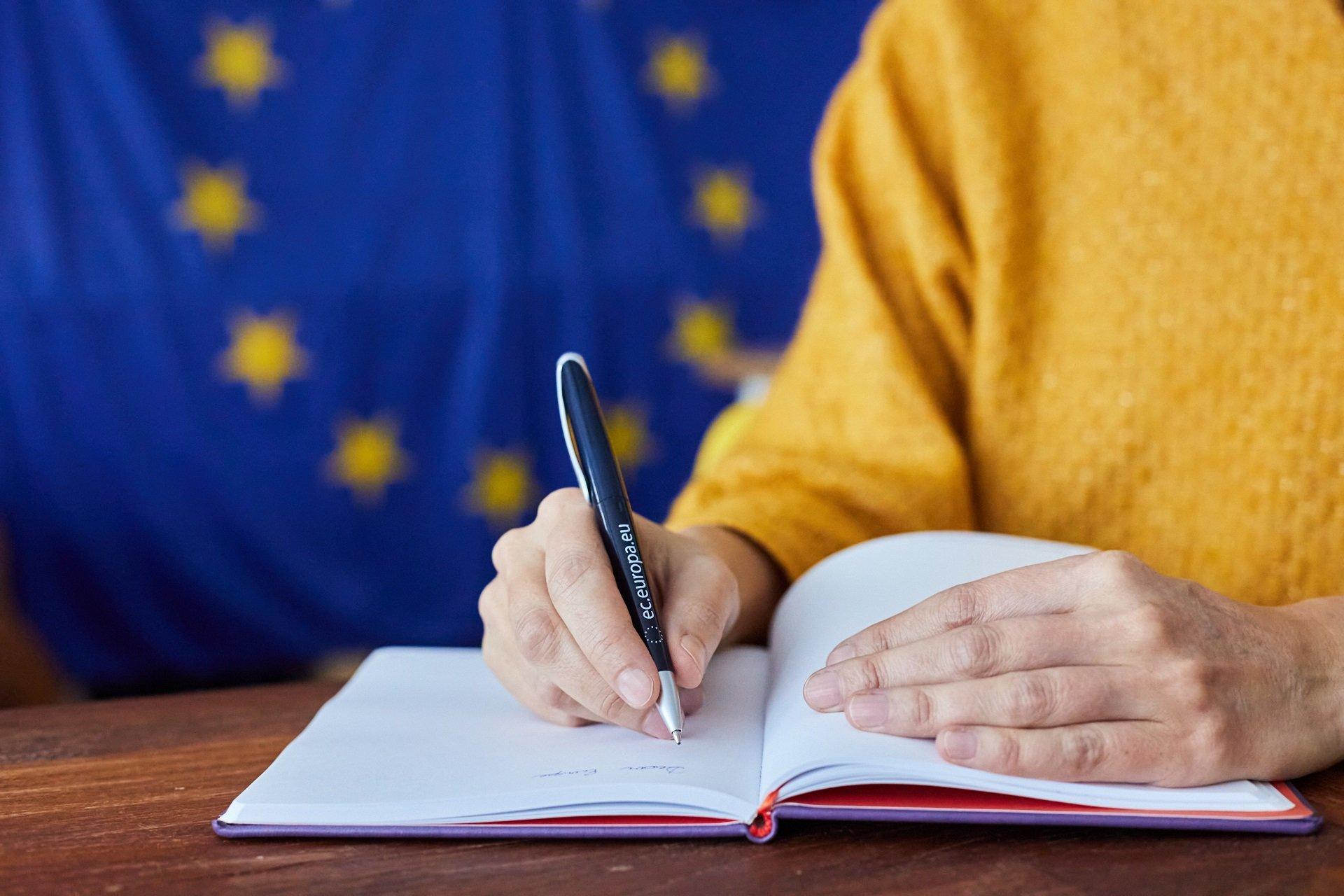 EU pen and flag
